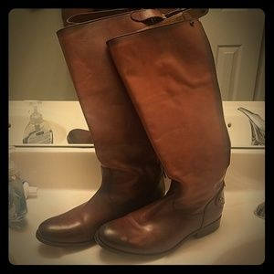 Frye Melissa button cognac leather boots